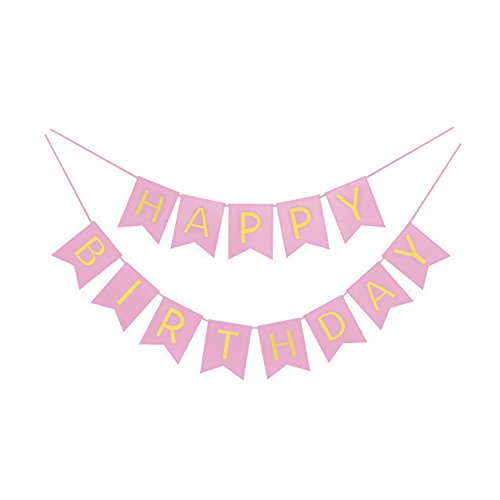 Pink And Gold Foil Happy Birthday Bunting Banner. Pink And Gold Shimmer Hanging Birthday Party Decorations And Party Supplies. By Premium Disposables.