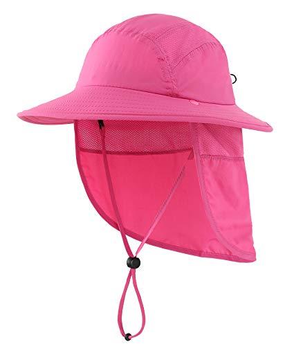 Home Prefer UPF 50+ Girls Sun Hat with Neck Flap Summer Beach Hat Kids Safari Hat (Rose Red)