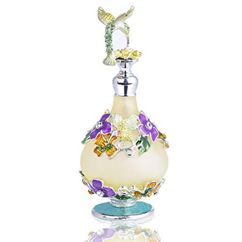 YUFENG Refillable Decorative Glass Perfume Bottle w/Fancy Retro Frosted Design - Vintage Perfume Bottle Empty w/Hummingbird Figurine ()