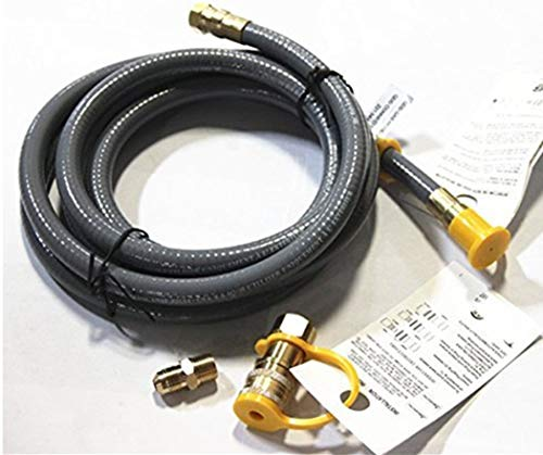 (Hongso HRTA1-1 10-Feet Natural Gas and Propane Gas Quick Connect Hose Assembly 3/8-inch Female Pipe Thread x 3/8-inch Male Flare Quick Connect Disconnect)