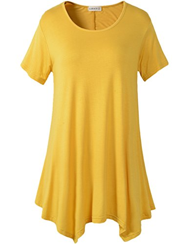 Yellow Tunic Shirt (Lanmo Womens Swing Tunic Tops Loose Fit Comfy Flattering T Shirt (2X,)