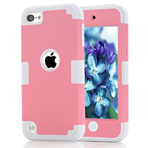 Price comparison product image iPod Touch 6th Case, KAMII 3 Layers Verge Hybrid Soft Silicone Hard Plastic Triple Quakeproof Drop Resistance Protective Case Cover for Apple iPod Touch 5 6th Generation (Pink White)