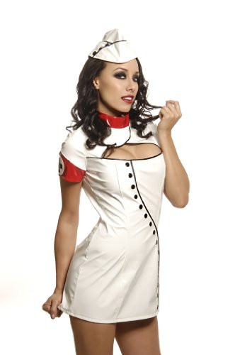 [Folter Clothing 2 Pc. VINYL SEXY NURSE Costume Set- Small/ Medium] (Nurse Costumes For Teens)