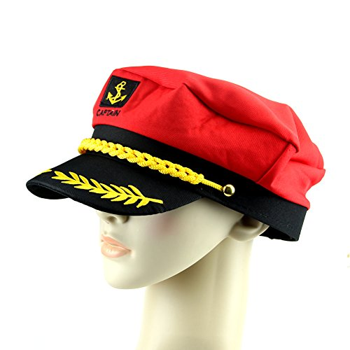 Chunshop Unisex Adult Peaked Skipper Sailors Navy Captain Boating Hat Cap Fancy Dress (Red) - Sexy Sailor Hat