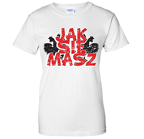 Borat Shirts Tee - Jak Sie Masz -How Are You Polish Borat Kazakhstan WOMENS T-Shirt (XL White)
