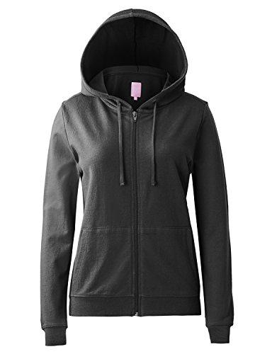 Regna X Women's Long Sleeve Lightweight Thin Full Zip Hoodie Black M ()