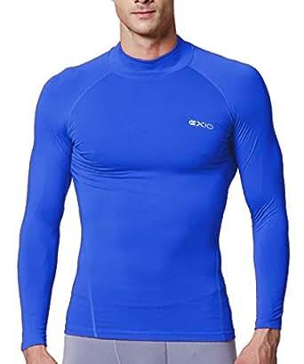 EXIO Japan Men's Mock Turtleneck Compression Shirt Cool&Dry Baselayer Top EX-T02 (Medium, EXT02-BL)