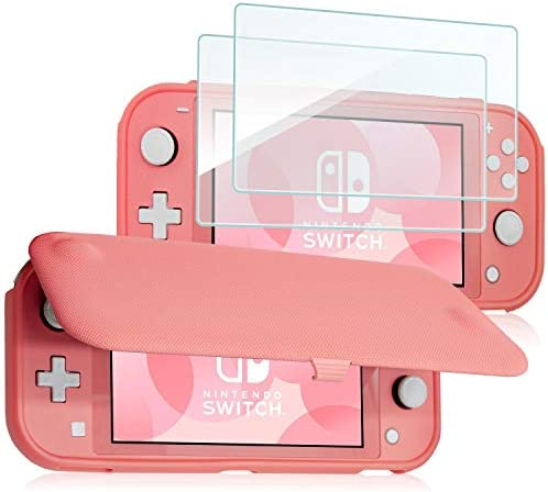 ProfessionalCase Nintendo Switch Lite Flip Cover with 2 Pack Tempered Glass Screen Protectors, Slim Protective Flip Case with Magnetically Detachable Front Cover for Nintendo Switch Lite 2019 -Coral