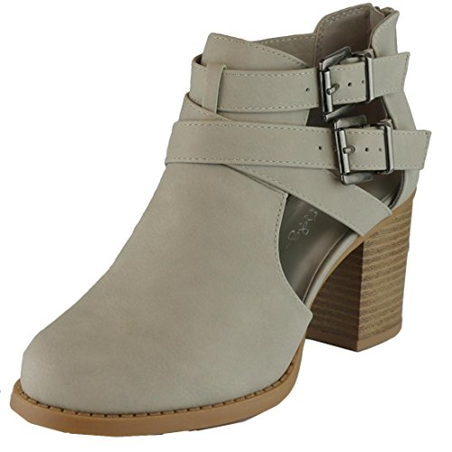 Cambridge Select Women's Buckle Side Cut Out Chunky Stacked Heel Ankle Bootie Light Grey Nbpu