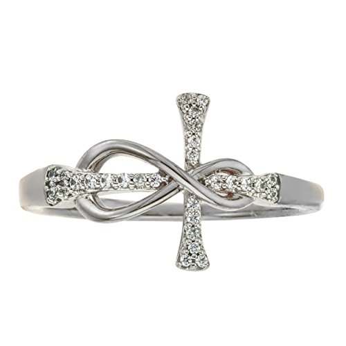 Diamond Infinity Cross Ring in 10kt White Gold (Infinity Diamond Rings For Women)