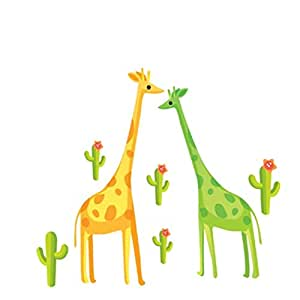 Giraffe and Cactus Wall Stickers Kids decorative Painting Background Wallpaper
