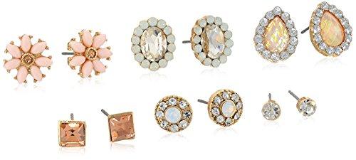 - Rhinestone Clear/Pink/Gold Tone Post Stud Earrings