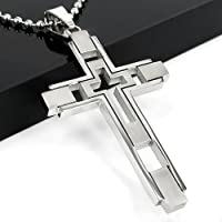 Gift Unisexs Mens Women Boy Silver Stainless Steel Cross Pendant Necklace