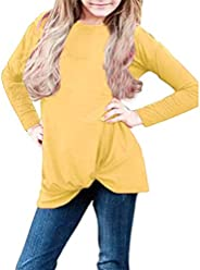 Girls Kids Long Sleeve Loose Blouse Shirts Clothes 6-14 Years Old Children Fashion Solid Knot Front Tops