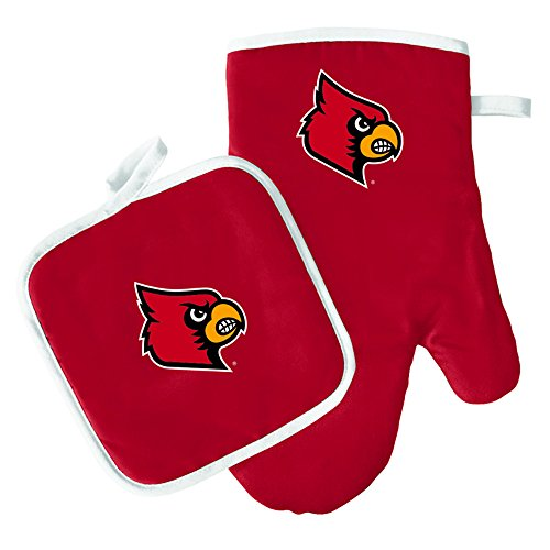 Oven Mitt and Pot Holder Set - Barbeque BBQ Kitchen Backyard Outdoors - NCAA - Louisville Cardinals ()