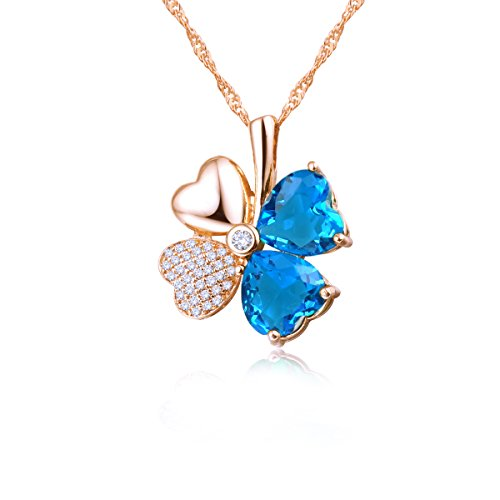 Emosa Women Hand Inlaid Heart Shaped Swarovski Elements Crystal Four Leaf Clover Necklace (Rose gold plated/Blue stone)