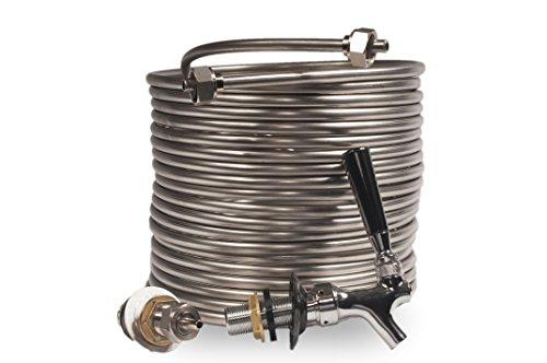 Jockey Box Conversion Kit Single Faucet, DIY Beer Keg Cooler, 3/8-inch 50' Stainless Steel Coil, Food Grade 304ss