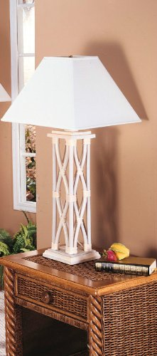 Column Table Lamp - Column Table Lamp - Classic Rattan NIB