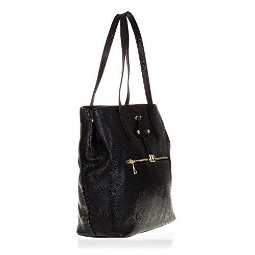 FIRENZE ARTEGIANI.Bolso shopping bag de mujer piel auténtica.Bolso mujer cuero genuino, piel acabdo Dollaro. MADE IN ITALY. VERA PELLE ITALIANA. 30,5x33x15 cm. Color: NEGRO