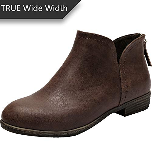 Women's Wide Width Ankle Boots - Classic Low Heel Back Zipper Comfortable Booties.(180912,Brown,11.5WW)