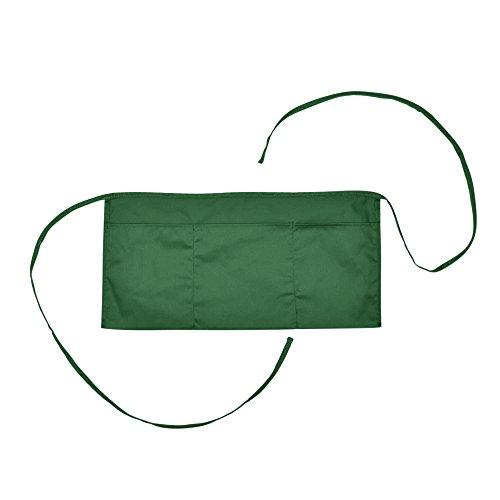 Waitress Waist Aprons Commercial Restaurant Home Bib Spun Poly Cotton Kitchen (3 Pockets)in Dark Green]()