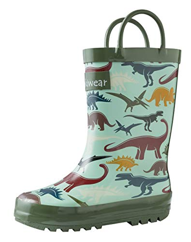 OAKI Kids Rubber Rain Boots with Easy-On Handles, Earthy Dino, 4T US Toddler