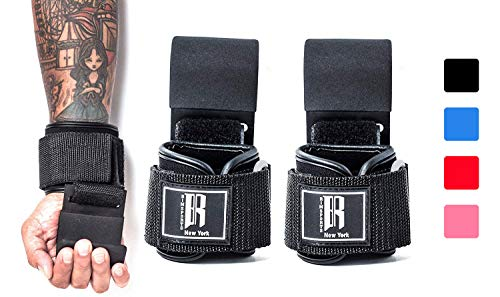 Weight Lifting Hooks Heavy Duty - Lifting Wrist Straps for Pull-ups - Deadlift Straps for Power Lifting - Lifting Grips with Padded Workout Straps for Weightlifting - Ideal Gym Gloves for Men & Women