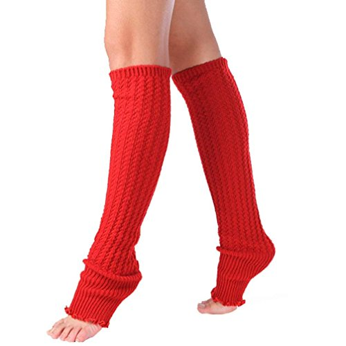 Long Knitted Leg Warmers Socks,Hemlock Womens Boot Cuffs Lace Patchwork Leggings Socks (Red)