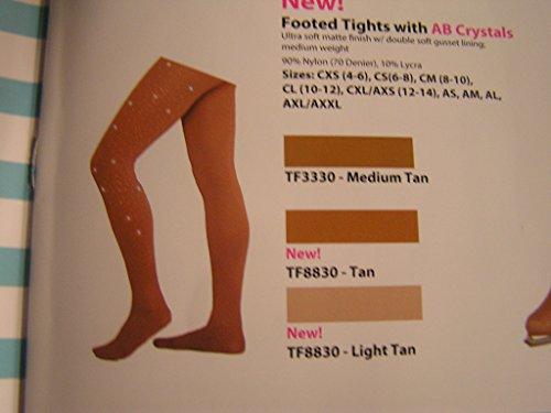 Price comparison product image Chloe Noel Figure Skating Tan Footed Tights TF8830 Tan Child Medium (8-10)