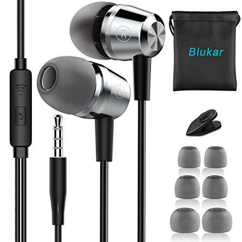 Blukar In-Ear Kopfhörer, Geräuschdämmende Ohrhörer Kopfhörer Stereo und HiFi-Klang, mit Weichen und Komfortablen Ohrstöpseln und Ideal für iPhone, iPad, Smartphone, MP3 Players usw.