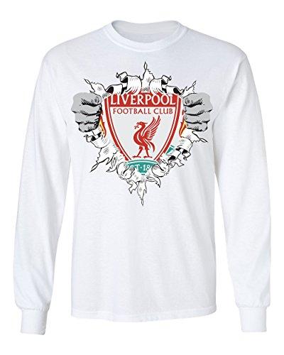 (SMARTZONE Liverpool Football Club Super Hero Logo Soccer Football Futbol Men's Long Sleeve T Shirt (White,5XL))