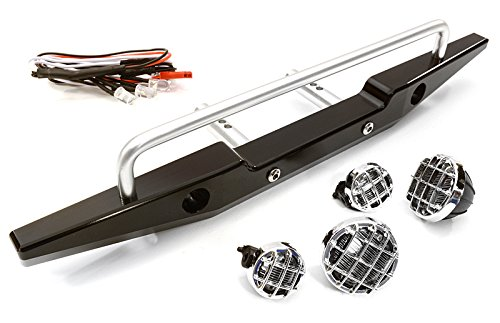 Integy RC Model Hop-ups C26764BLACK Realistic 1/10 Rear Bumper & Roof Top LED Lights for SCX-10 43mm Mount