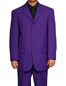 B001OGRE2G New Men's 4 Button Single Breasted Purple Business Dress Suit