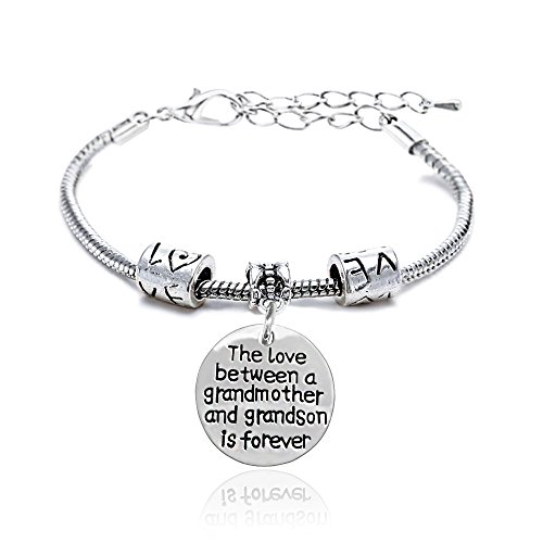 Family Bracelet The Love Between a Grandmother and Grandson is Forever Bangle Christams Gift for Grandma