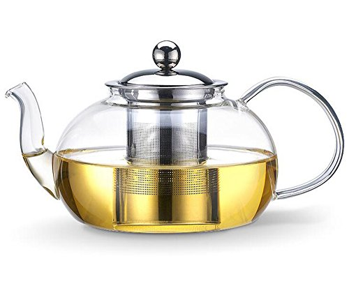 Bekith 40 Ounce Glass Teapot with Removable Infuser - Tea Pot and Tea Strainer Set - Holds 3-5 Cups