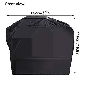 BBQ Barbacoa funda protectora para barbacoas de gas, wetterschutzabdeckung con 210d poliéster 89x 116x 57cm negro