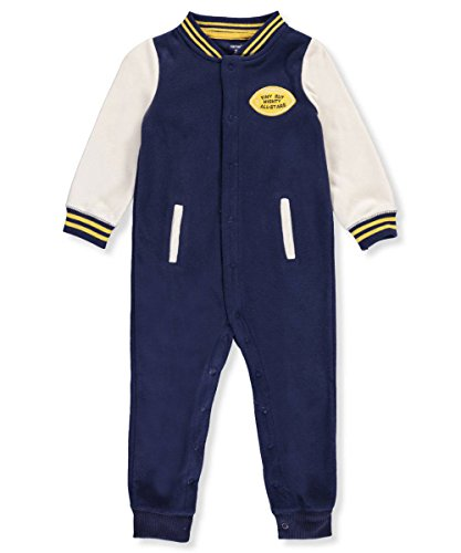 Carter's Baby Boys' Fleece Varsity Jumpsuit 6 Months,6 Months,Blue Football