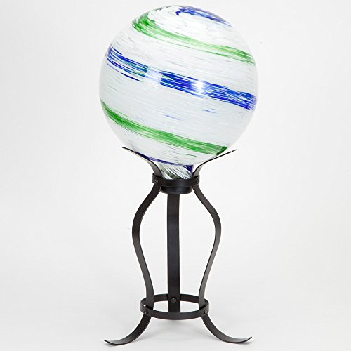 Bits and Pieces - Glow-in-the-Dark Hand Blown Gazing Glass Ball on a Stand - Powered by the Sun, Ball Glows Enchantingly at Night - Rests on 20