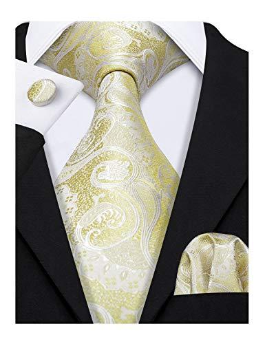 Barry.Wang Yellow Gold Ties Set Silk Paisley Handkerchief Cufflink