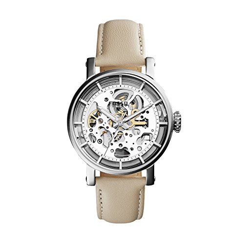Fossil Women's ME3069 Original Boyfriend Automatic Stainless Steel Skeleton Watch With White Leather Band