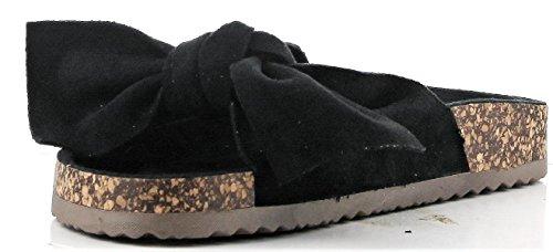 Cape Robbin Paula-1 Dames Striklussen Comfort Slip Op Flats Flip Flop Sandaal Zwart Zwart
