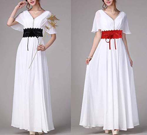 Belt Women Red YiyiLai Lace Decorative Sweet Dress Tie Waistband Wide Self 4vqv0w
