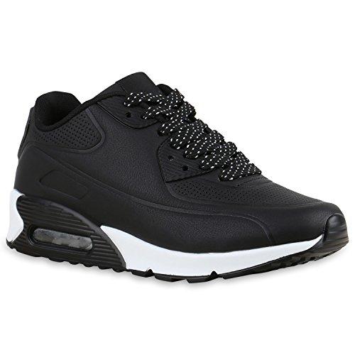 Stiefelparadies Damen Herren Unisex Sportschuhe Runners Sneakers Laufschuhe Trendfarben Flandell Schwarz Weiss Brooklyn