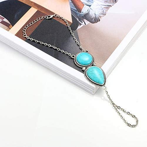 Edary Boho Bracelets Turquoise Bracelets Argent cha/îne main Accessoires main pour les femmes et fille
