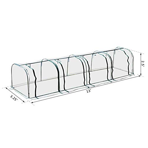 Outsunny 13' L x 3.25' W x 2.5' H PVC Metal Tunnel Cloche Garden Greenhouse Kit by Outsunny (Image #7)
