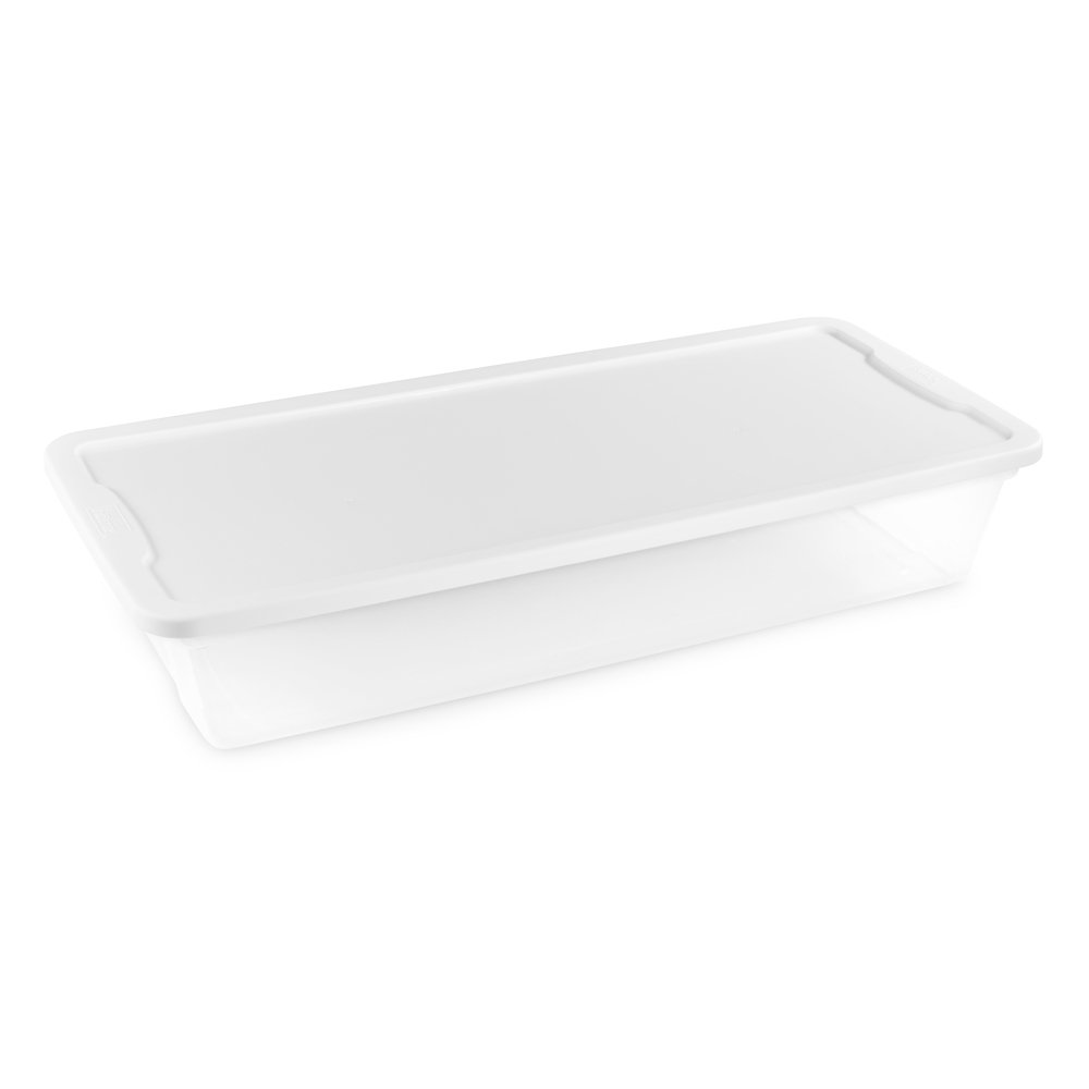 Homz Plastic Underbed Storage, Snap Lock White Lids, 41 Quart, Clear, Stackable, 6-Pack by Homz