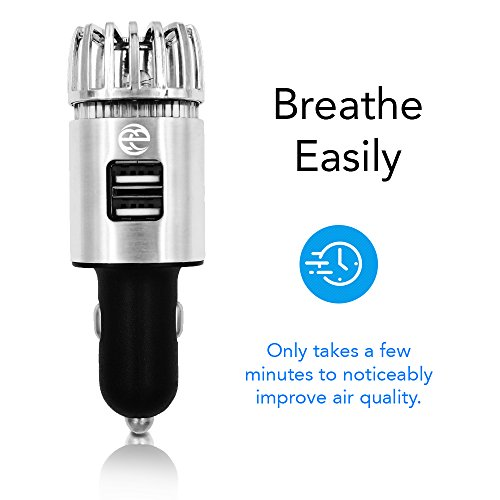 Powerful Car Air Purifier w/two 2.1 Amp USB Ports, Best Automobile Deodorizer, Freshener, Durable Ionizer - Removes Cigarette Smoke, Dust, Pollen, food odors & Pet smell (Ionizer Auto)