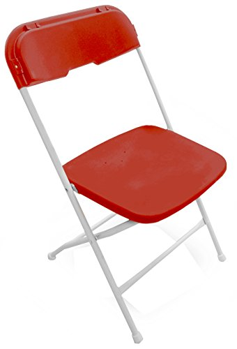McCourt 51010 Series 5 Dining Height Stackable Folding Chair, Bright White Frame, Single, Burgundy Seat/Back