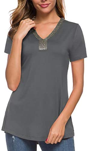MANER Women's Business Casual Shirts Work Blouse V Neck Beaded Tunic Tops S-3X