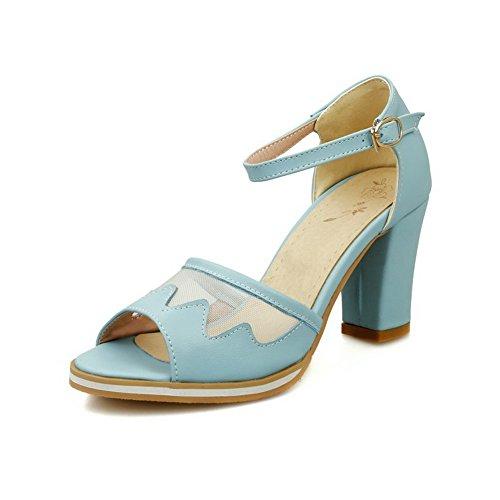 AllhqFashion Womens Soft Material Buckle Peep Toe High Heels Solid Sandals Blue BPYJpA4fV